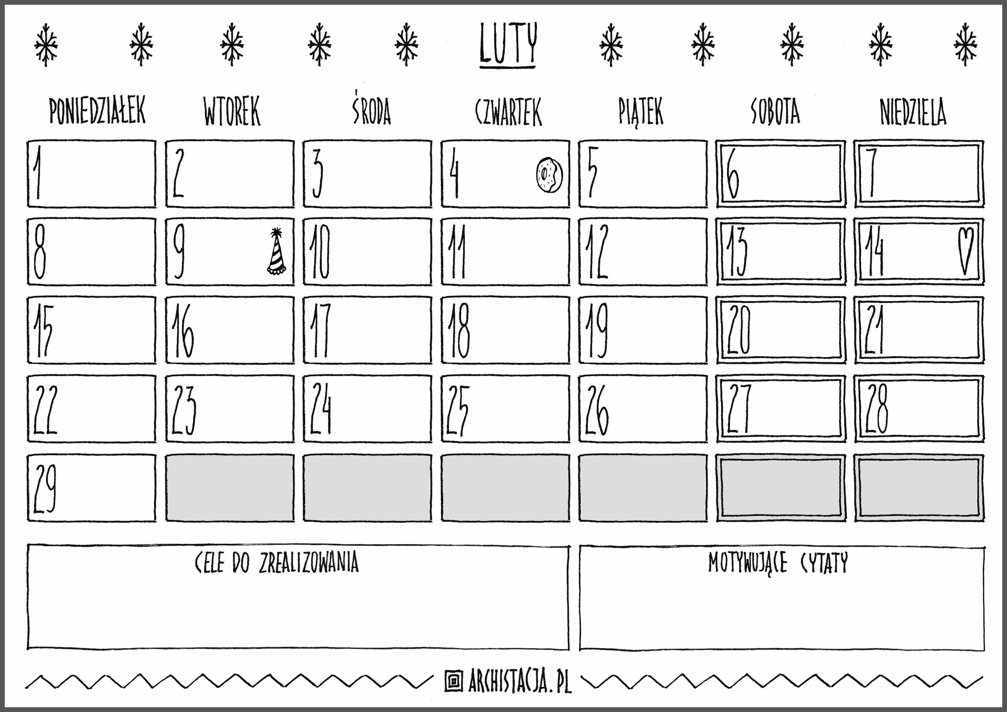 kalendarz luty wpis