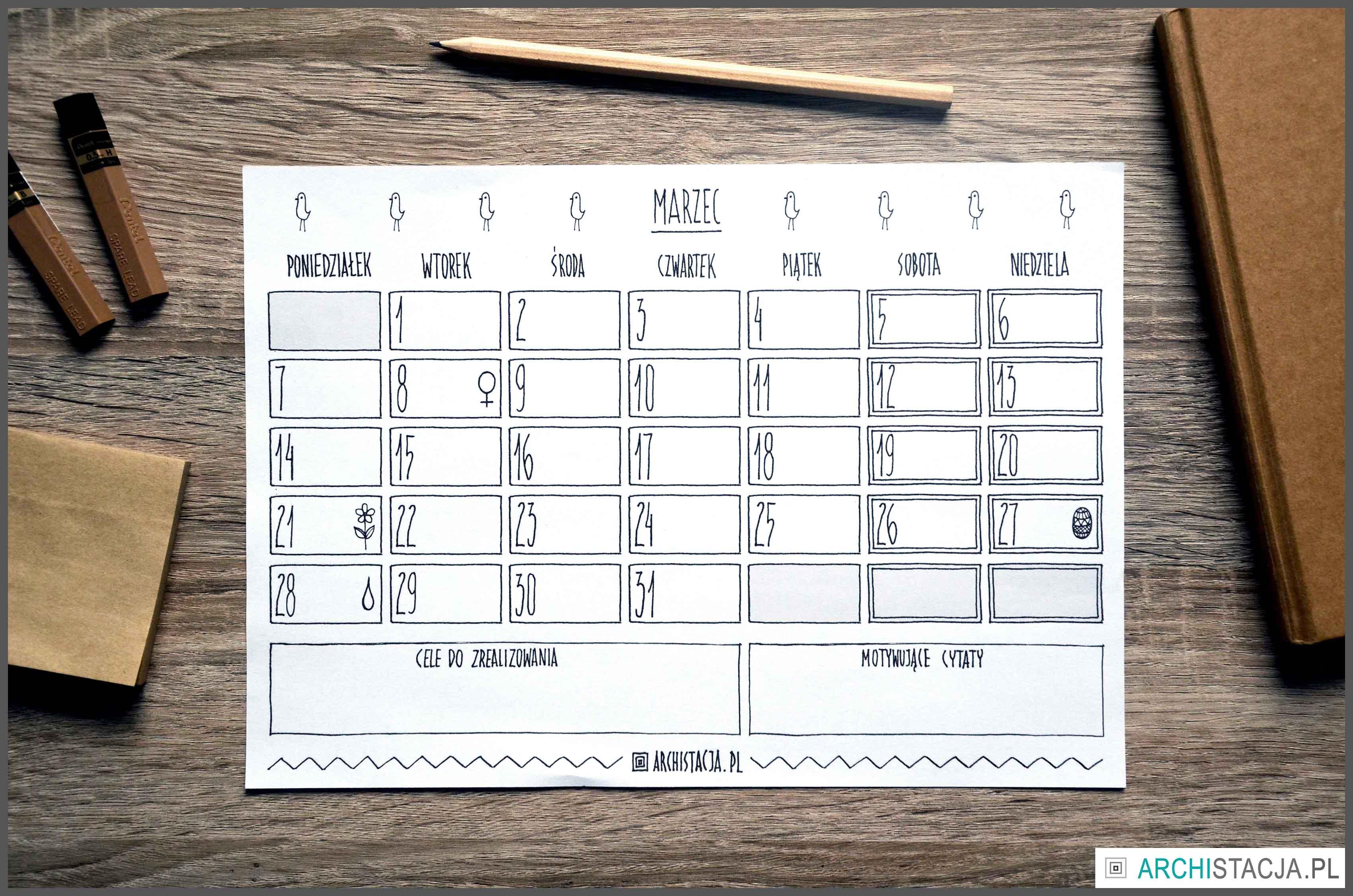 ZORGANIZUJ SIĘ ? kalendarz na marzec DO DRUKU