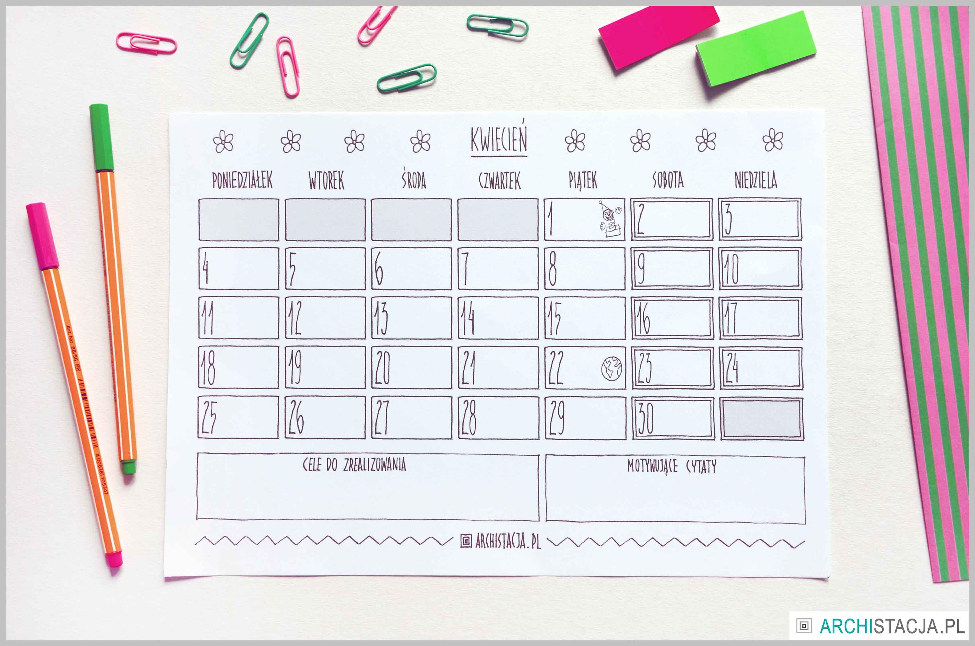 ZORGANIZUJ SIĘ – kalendarz na kwiecień DO DRUKU