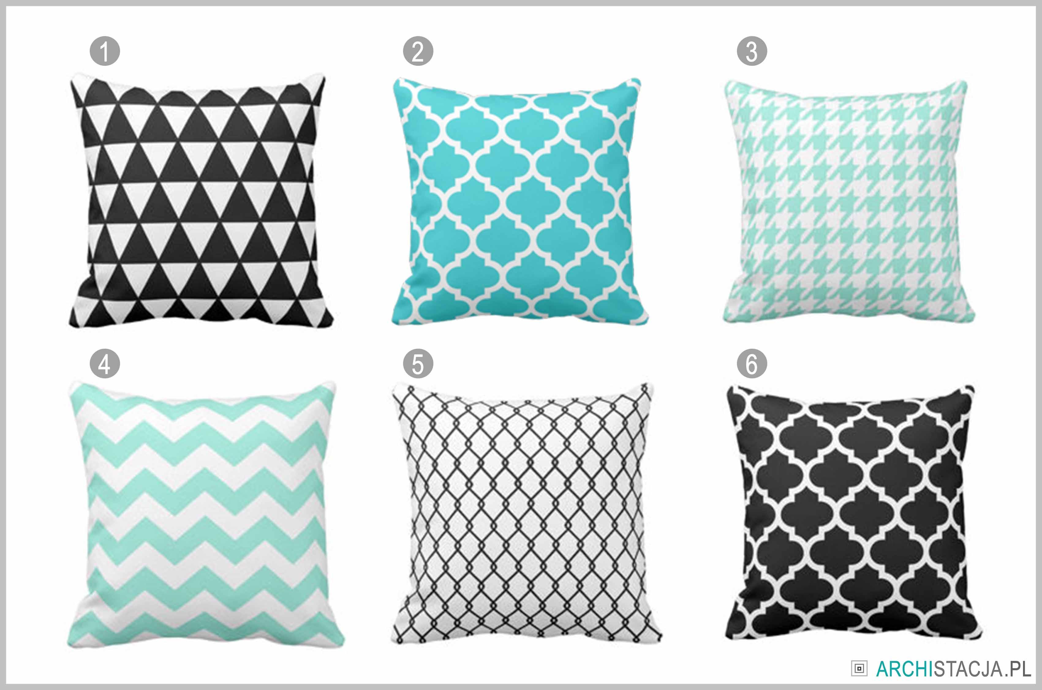 poduszki w geometryczne wzory