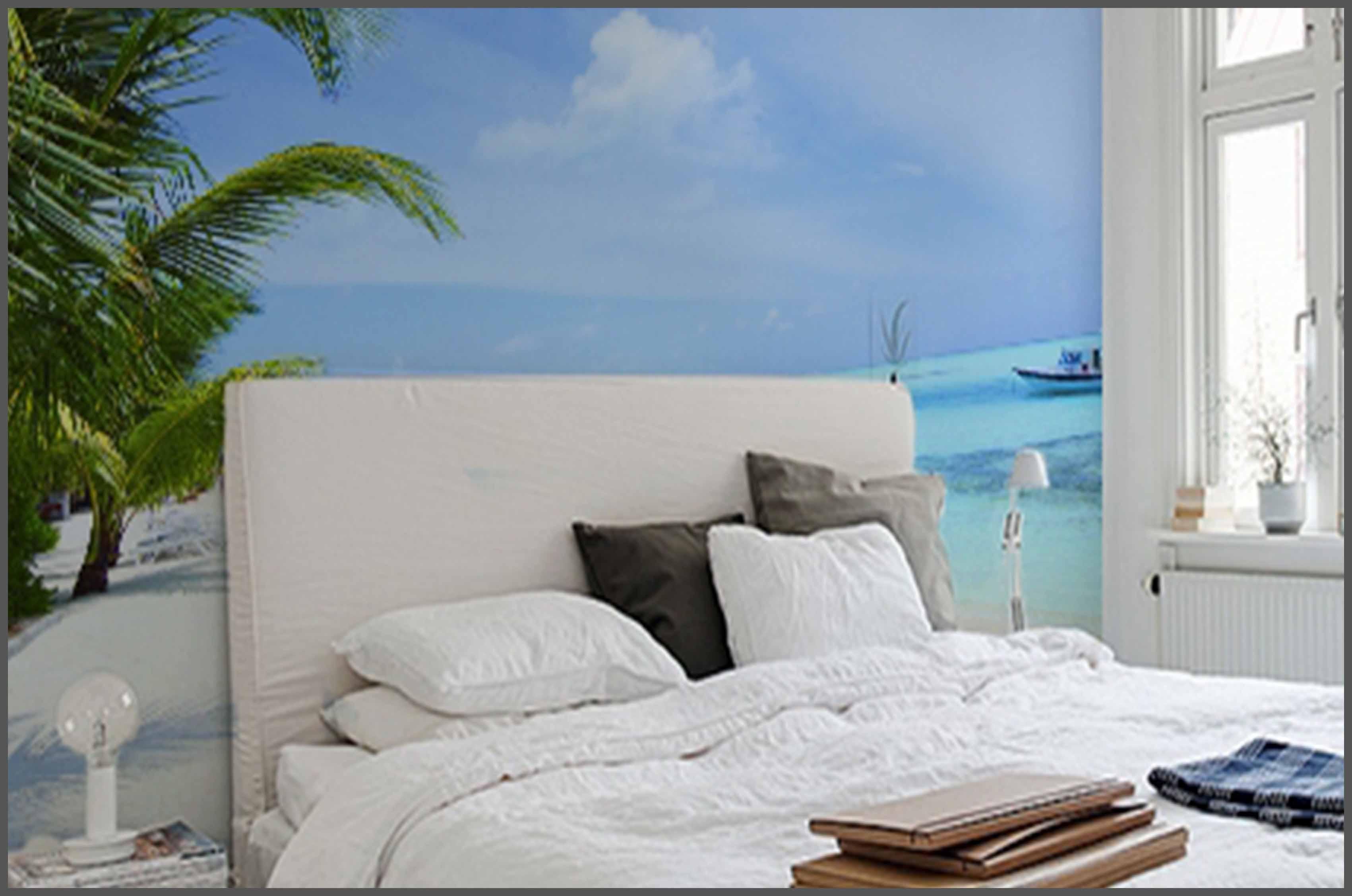 fototapeta z palmą w sypialni