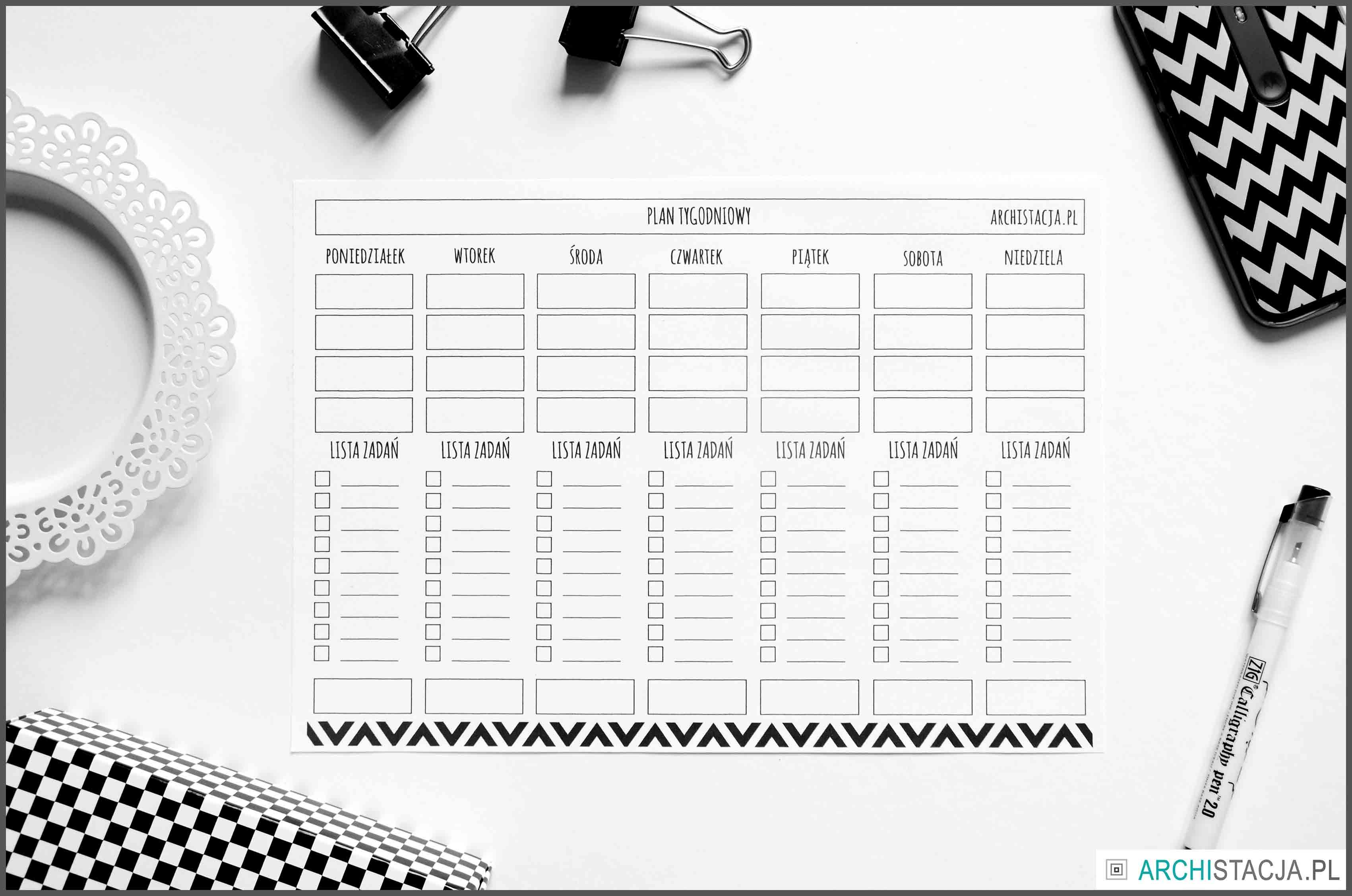 ZORGANIZUJ SIĘ - planer tygodniowy do druku