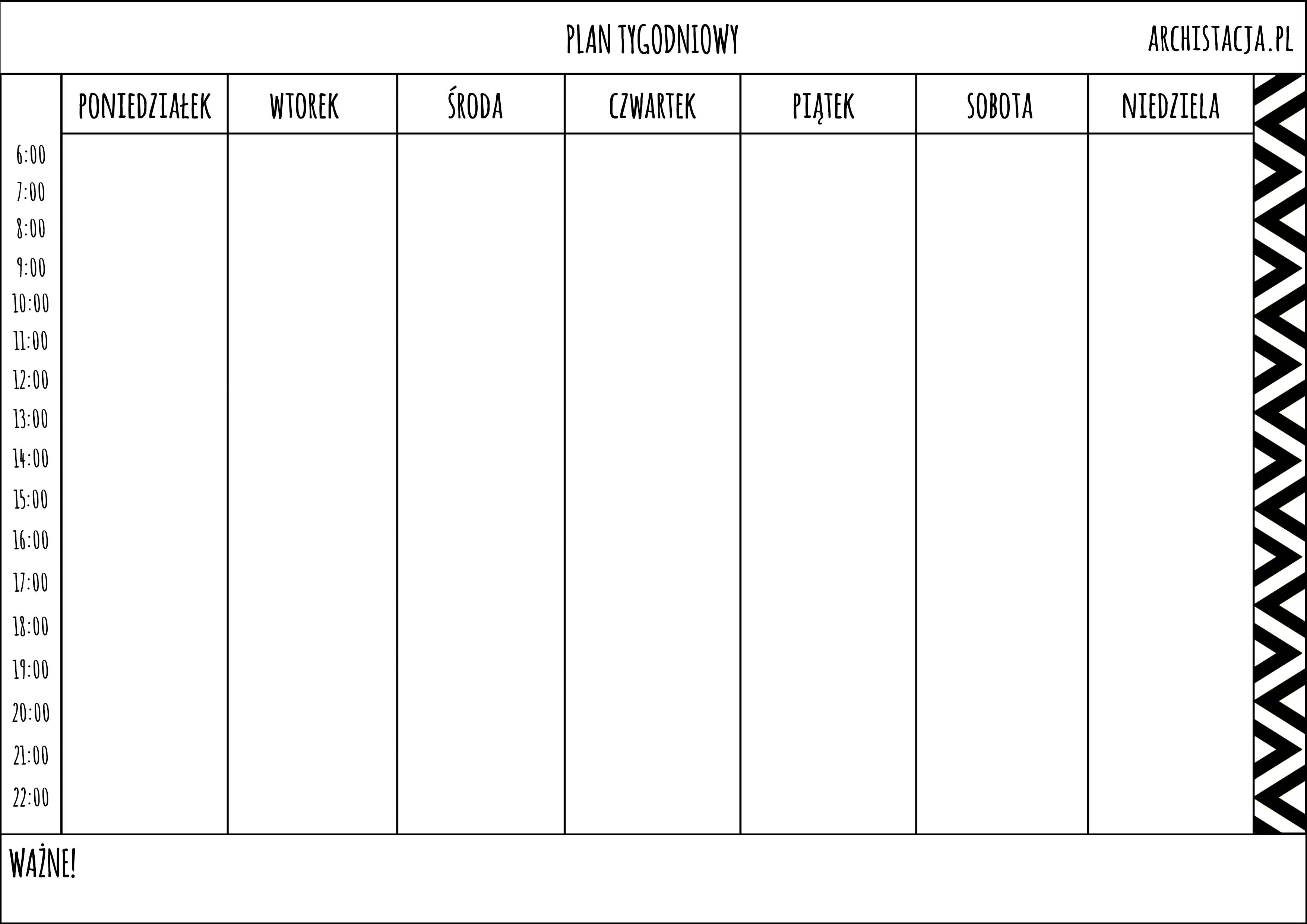 Planer tygodniowy do druku archistacja pl for Planer com