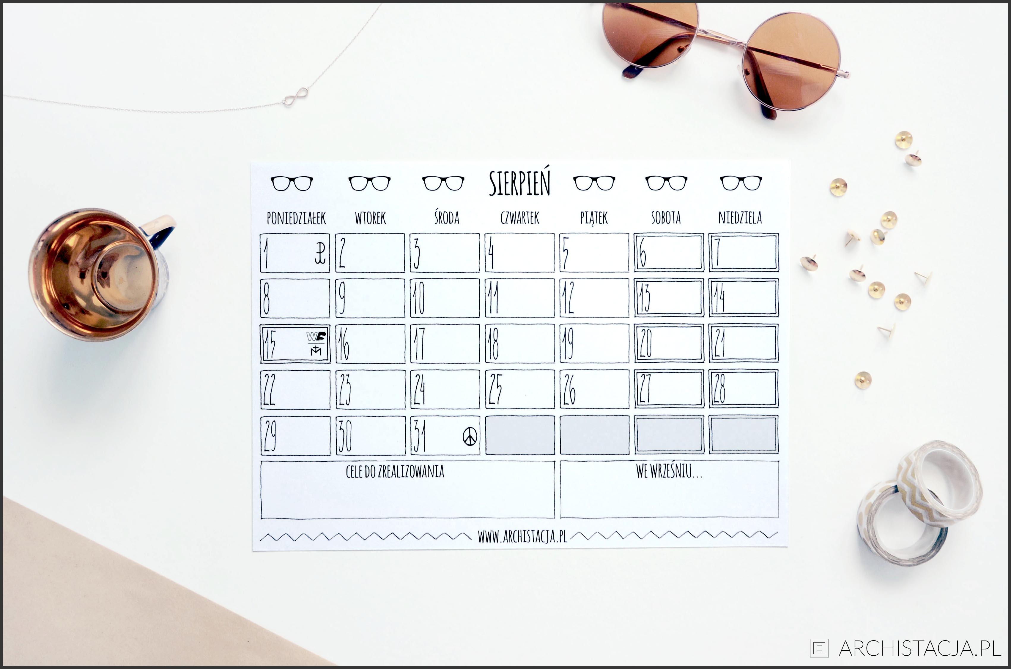 kalendarz na sierpień