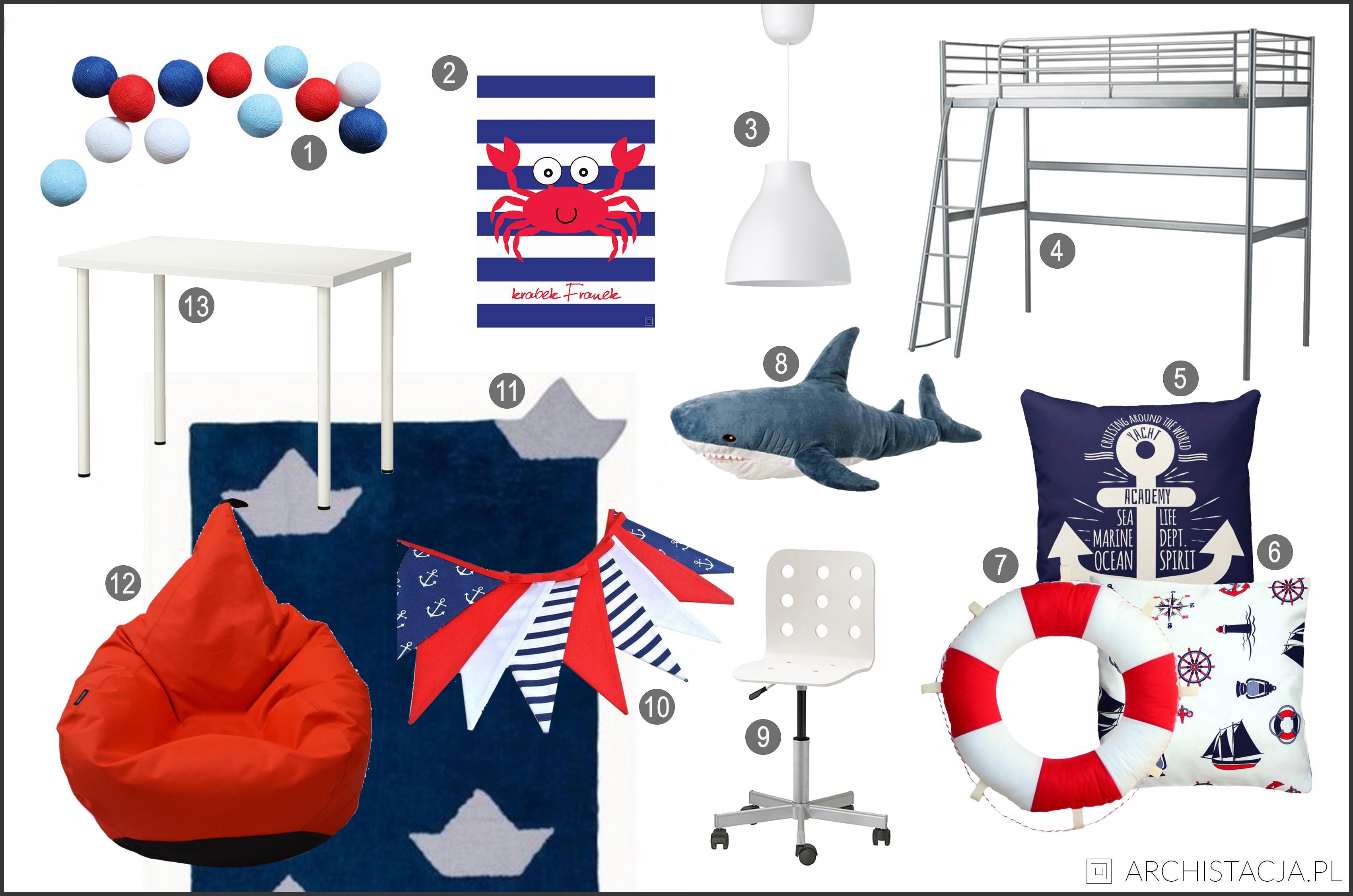 Marynarski pokój chłopca