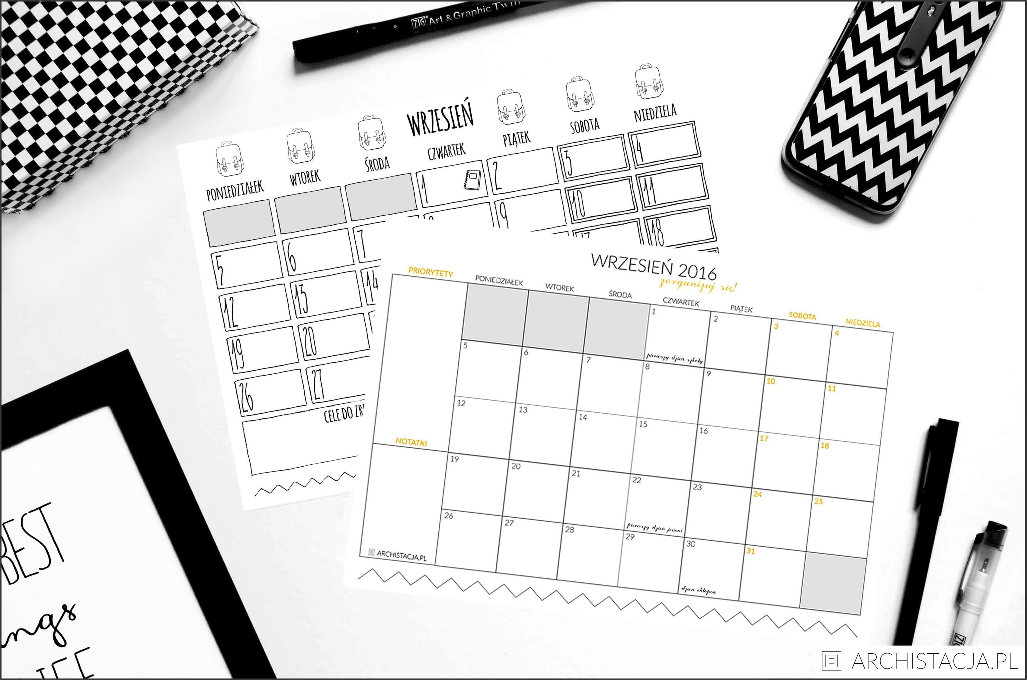 kalendarz na wrzesień