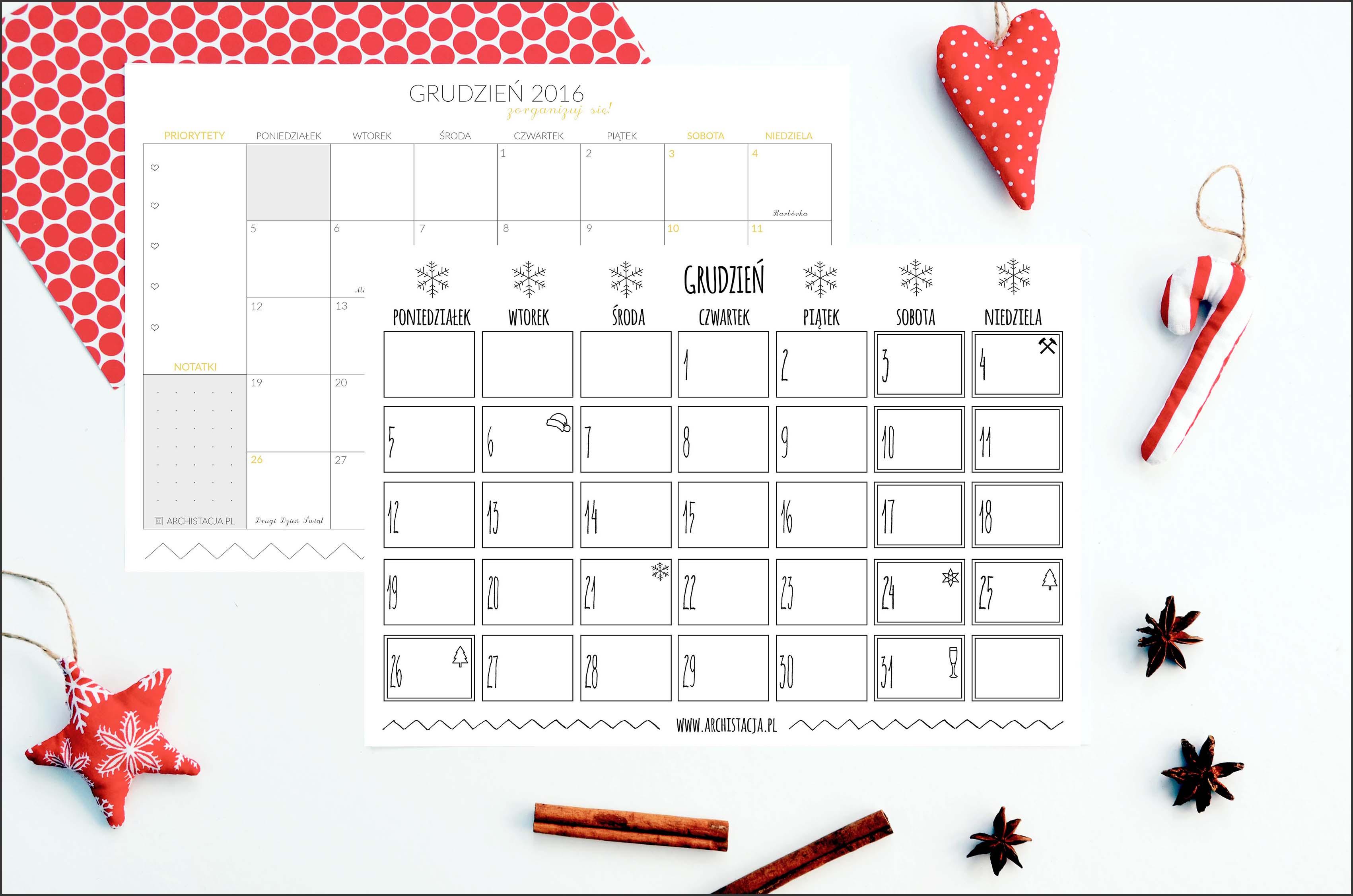 kalendarz na grudzień