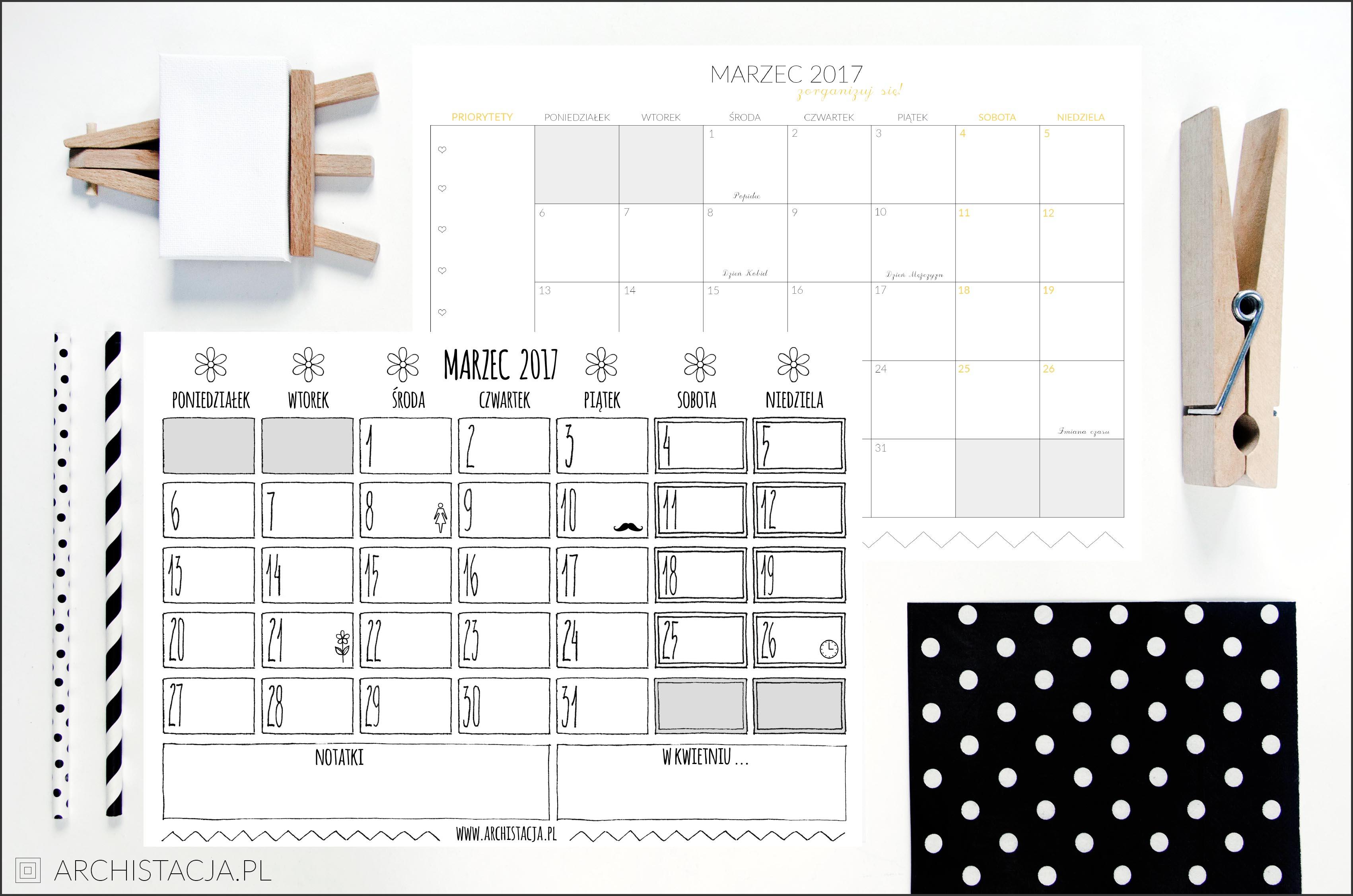 kalendarz na marzec