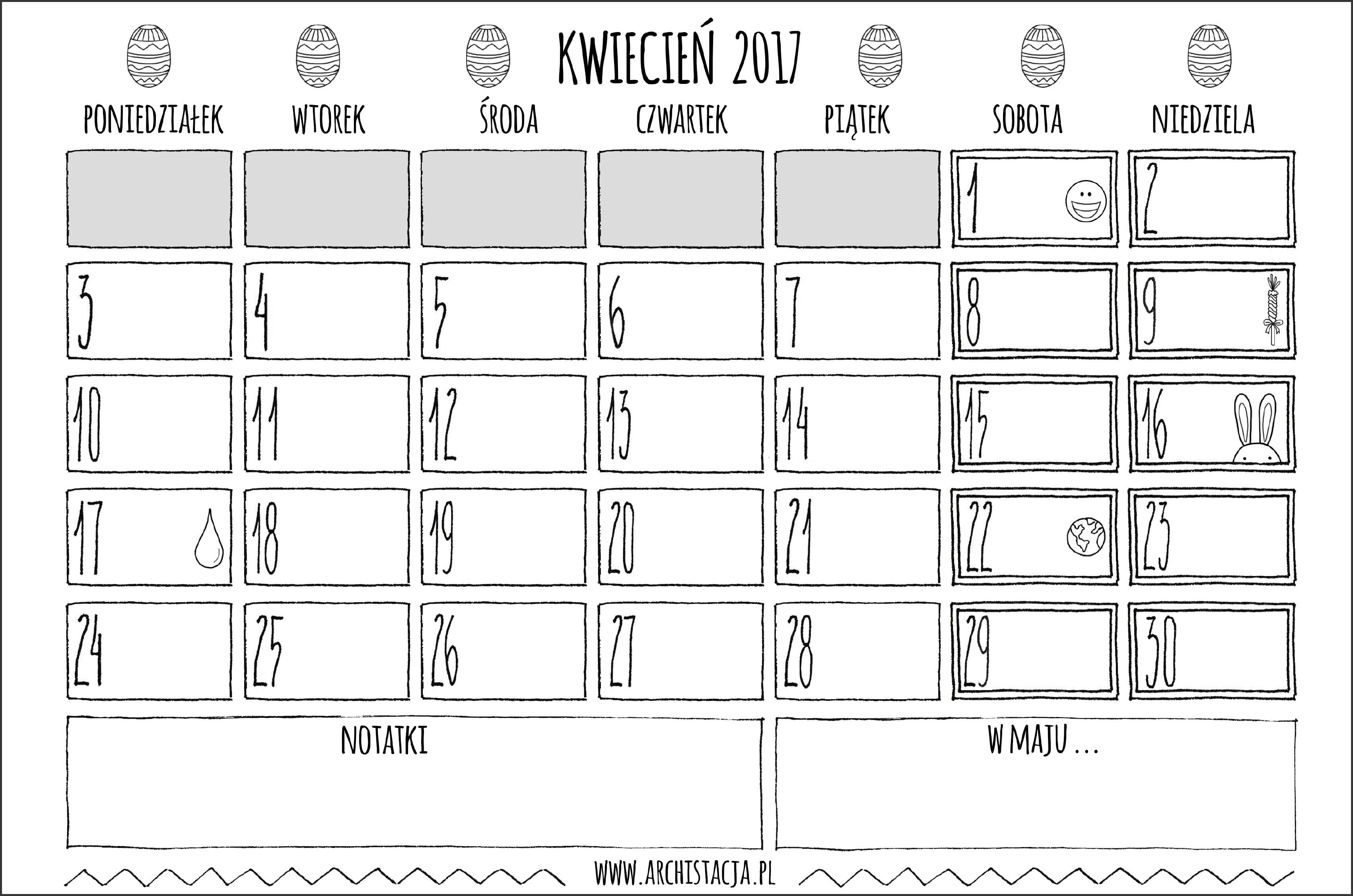 kalendarz na kwiecień 2017