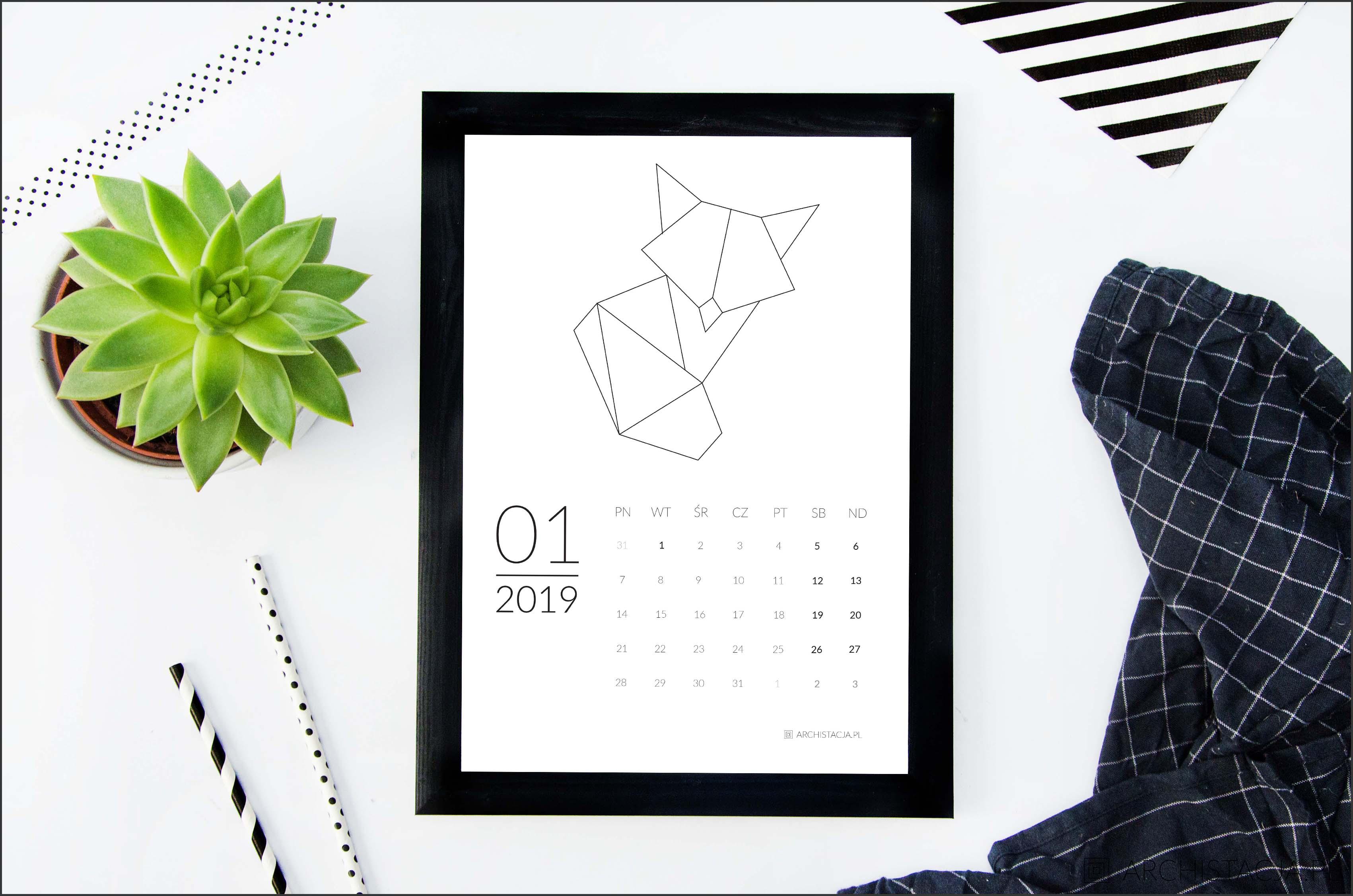 Geometryczny kalendarz na 2019 rok