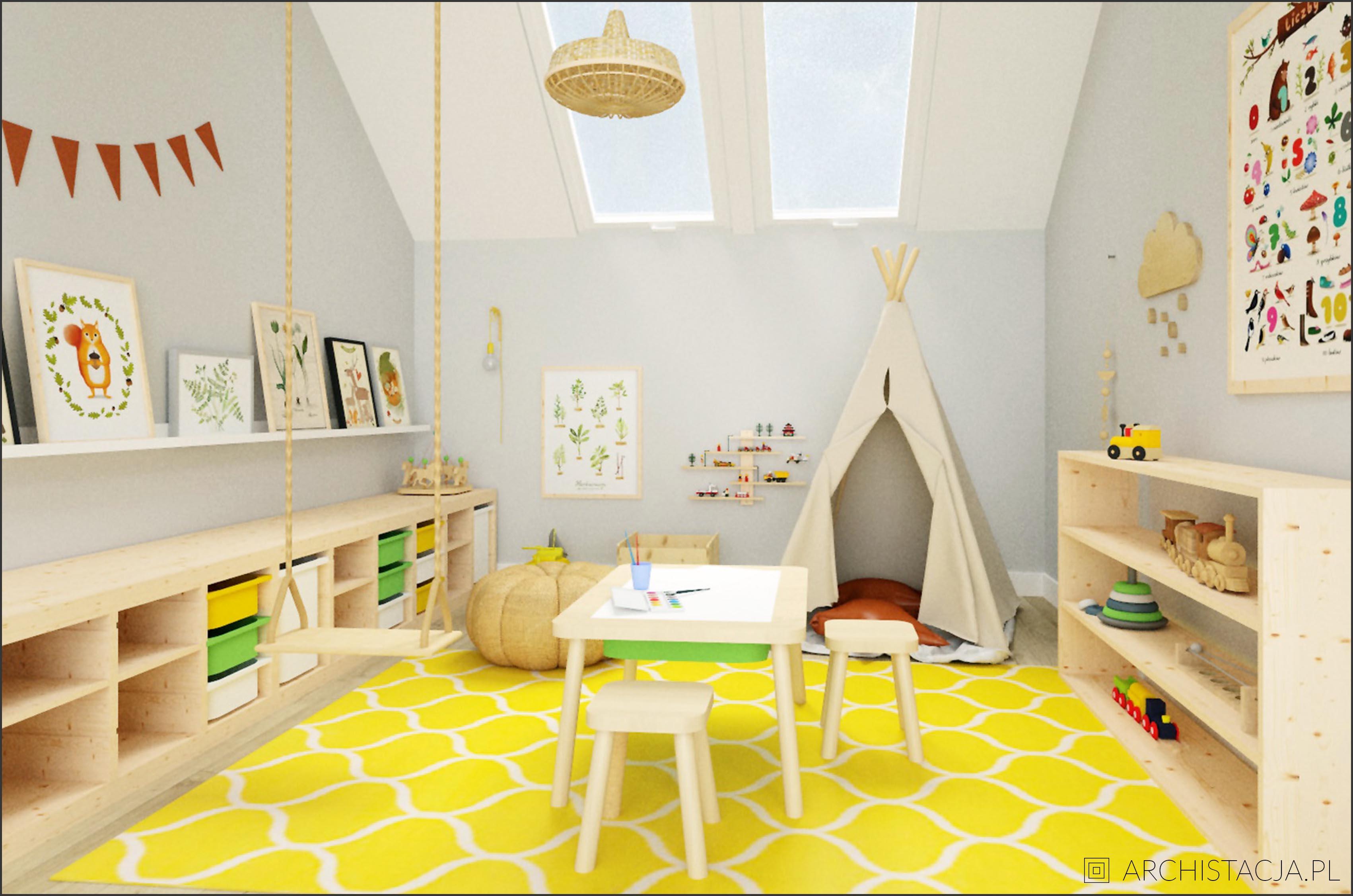 Projekt NIEBIAŃSKI EKLEKTYZM - pokój chłopca i bawialnia, inspirowane Montessori
