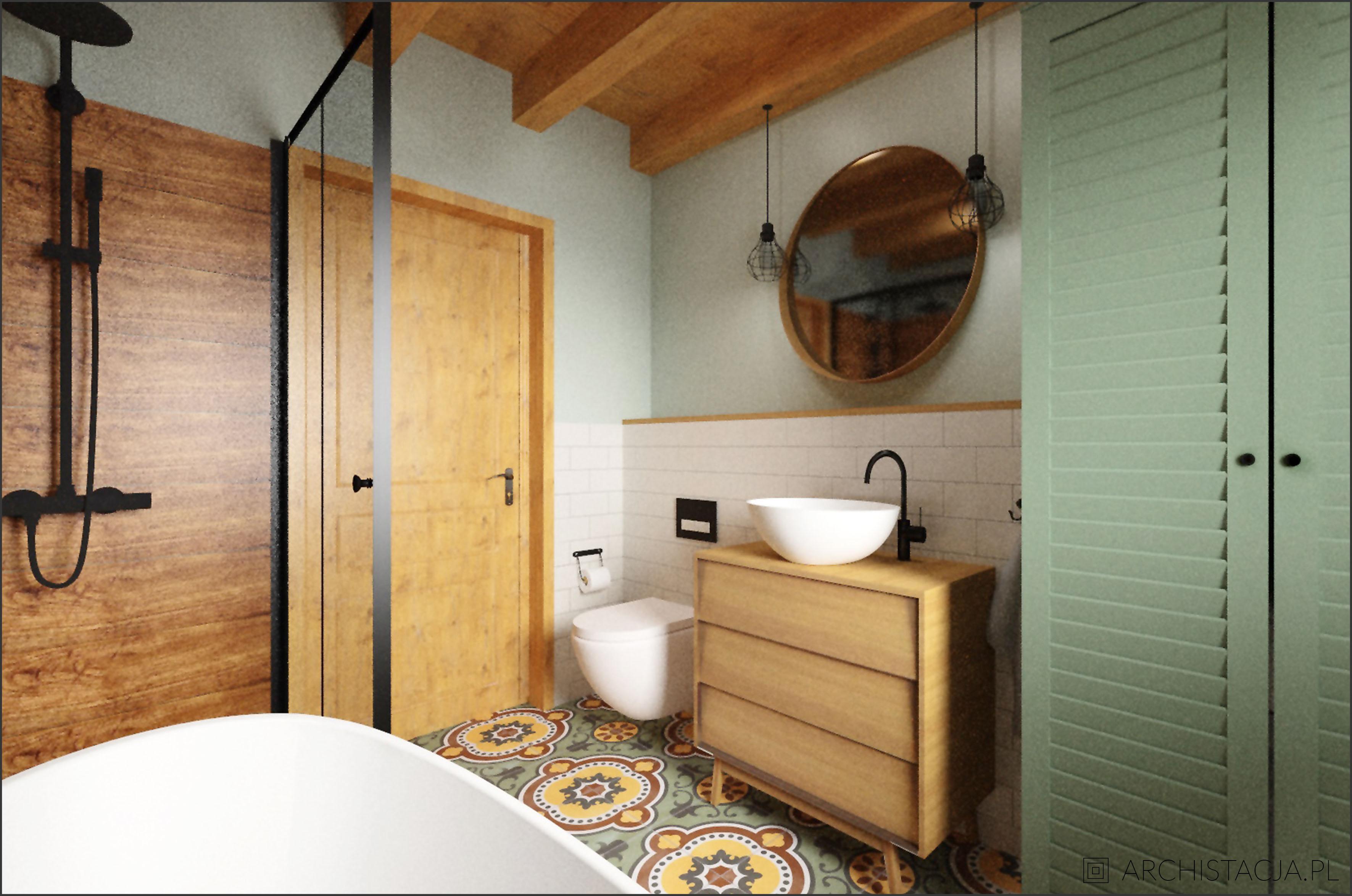 Projekt RETRO NATURALNIE - łazienka
