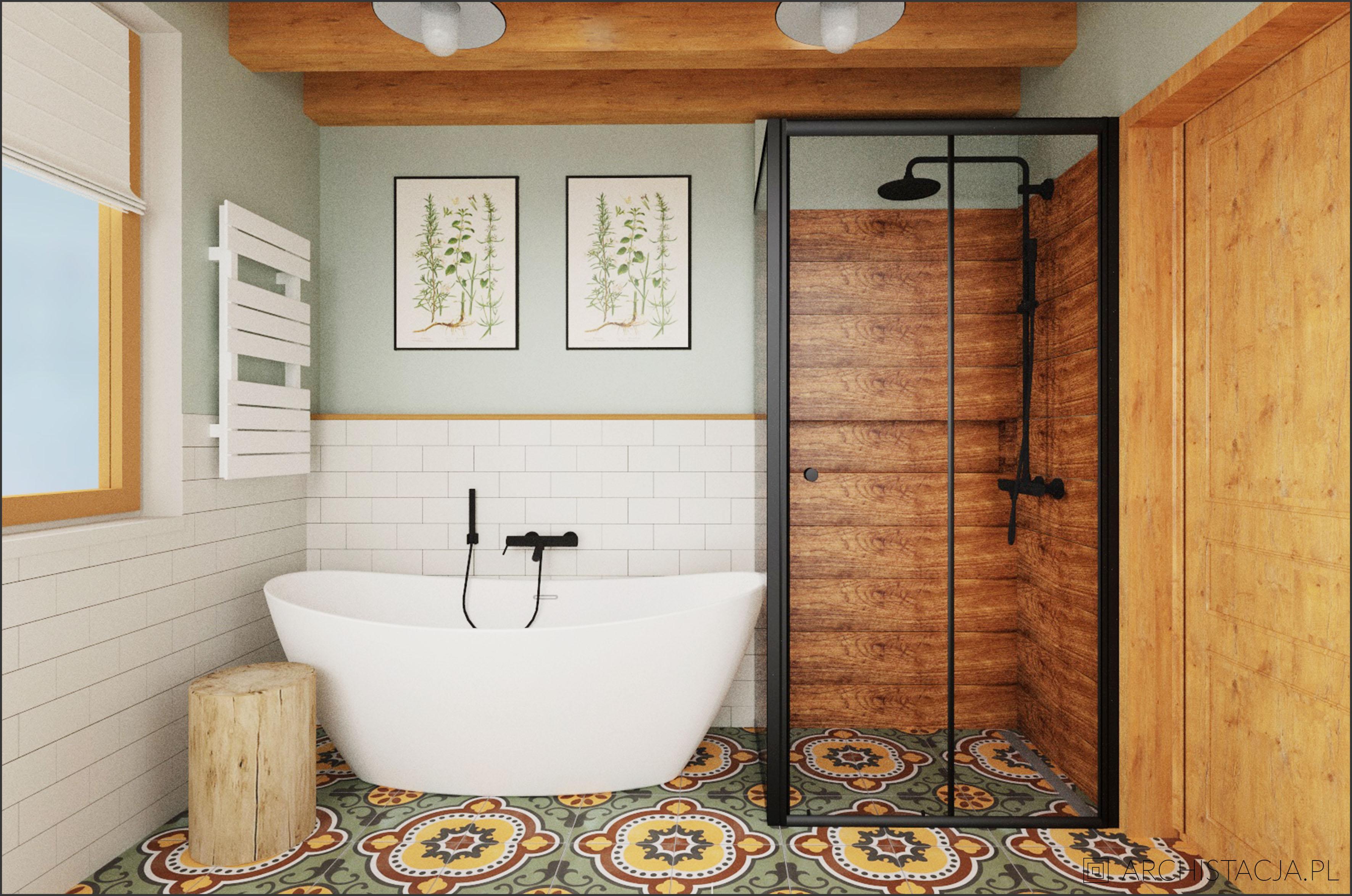 Projekt Retro Naturalnie łazienka Archistacja