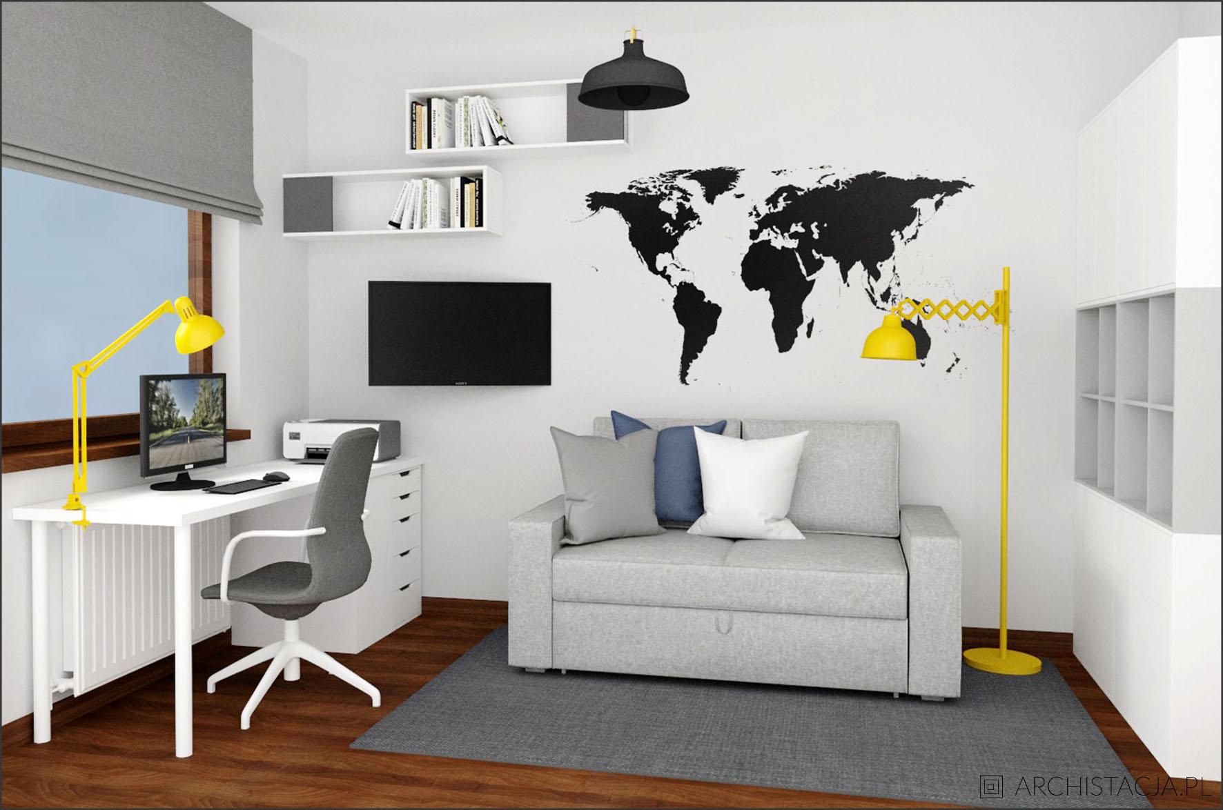 Projekt PO PROSTU SZAROŚĆ - gabinet i pokój gościnny w jednym