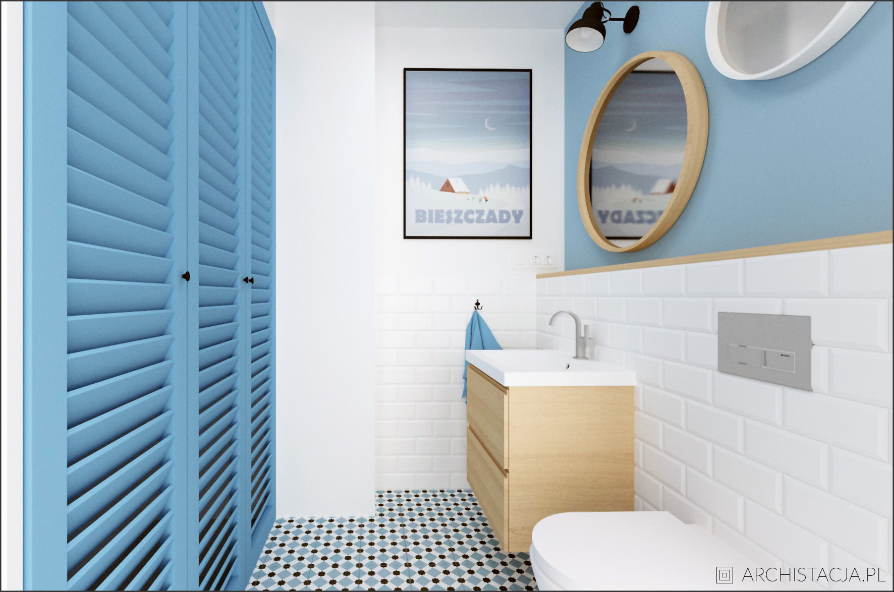 Projekt NIEBIAŃSKI EKLEKTYZM - łazienka z pralnią