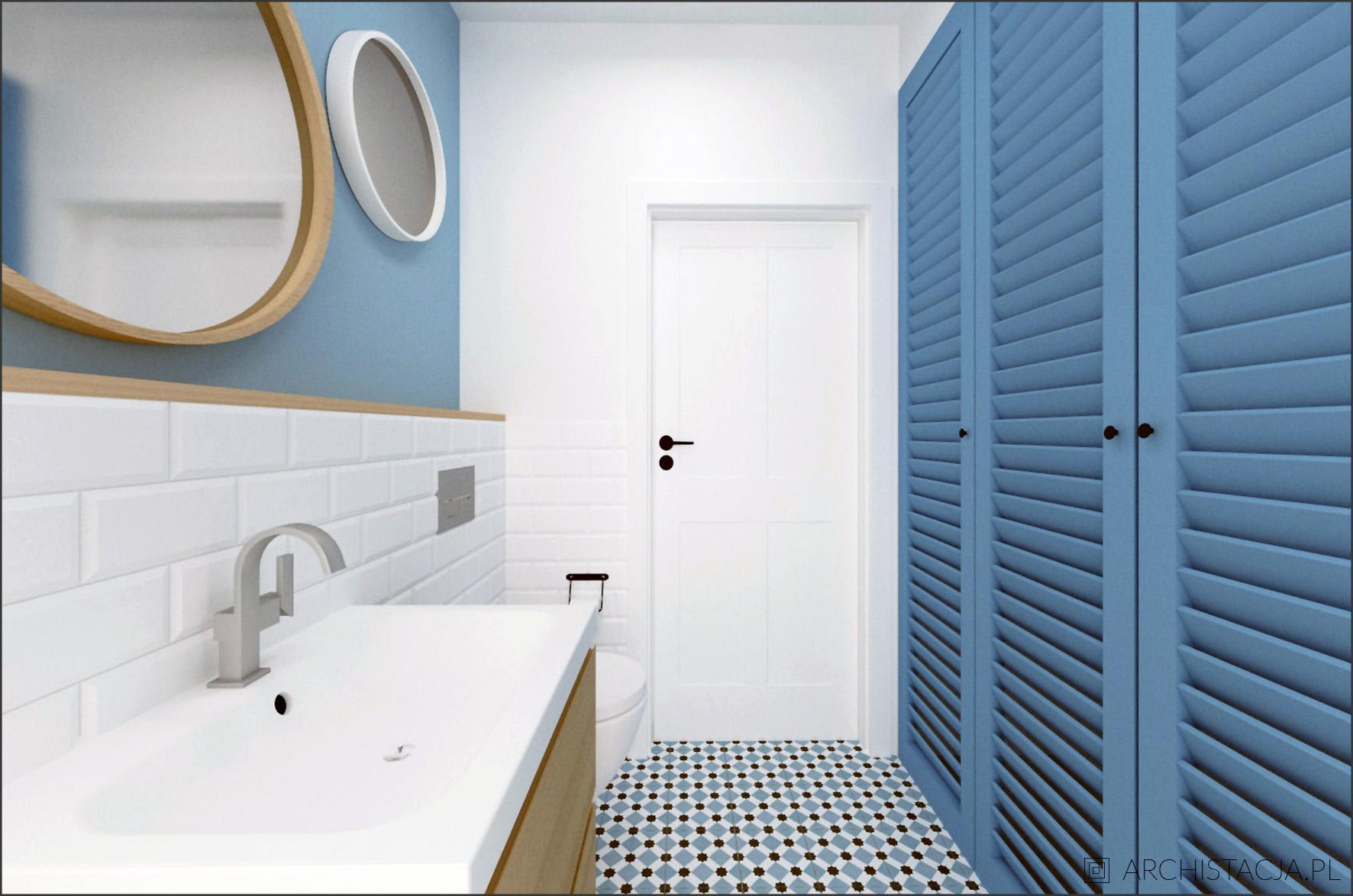 Projekt Niebiański Eklektyzm łazienka Z Pralnią Archistacja
