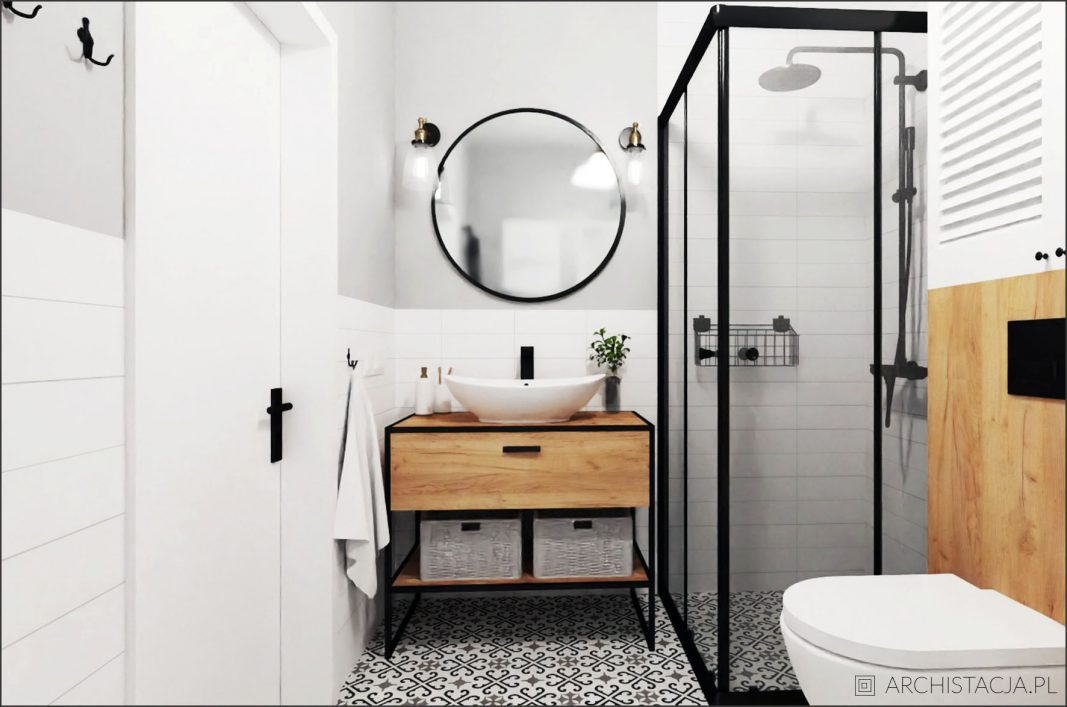 Projekt SKANDYNAWSKIE SPA – łazienka z wanną i prysznicem
