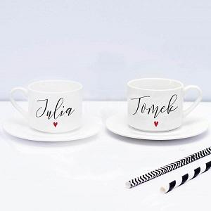 filiżanki ślubne z imionami