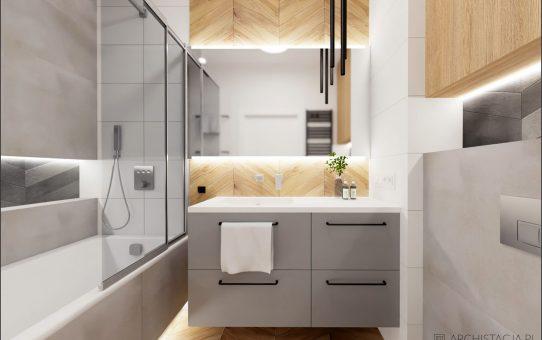 Projekt MODERN WOOD - łazienka z wanną